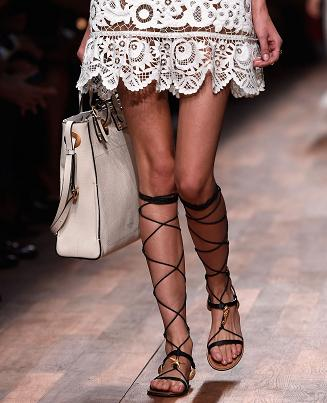 Gladiator and tote ,lace dress