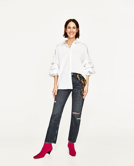 Classic White zara shirt with jeans